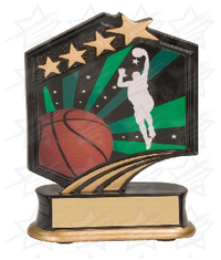 5 1/2 inch Black/Gold Basketball Graphic Sport Resin