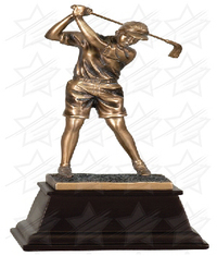 9 1/2 inch Bronze Female Golf Resin Award