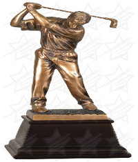 9 1/2 inch Bronze Male Golf Resin Award