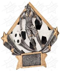 5 3/4 x 8 1/2 Female Soccer Diamond Star Resin