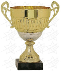 14 1/4 inch Gold/Silver Completed Metal Cup with Marble Base