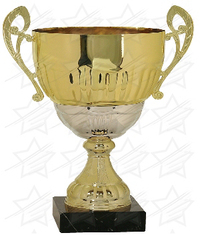 17 1/4 inch Gold/Silver Completed Metal Cup with Marble Base