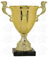 18 1/4 inch Gold Completed Metal Cup Trophy with Marble Base