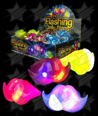 BLANK LED Jelly Mustache Rings - Assorted