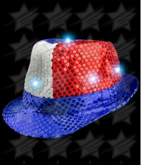 BLANK LED Patriotic Sequin Fedora