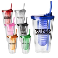 Acrylic Fruit Infuser Travel Tumbler Mug with Lid and Straw