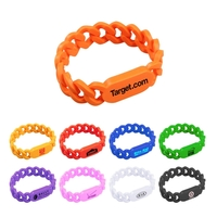Silicone Spirit Rubber ID Chain Link Awareness Wristband