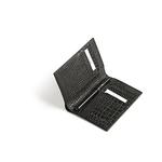 Credit Card & Pen Holder, Croco Black Leather