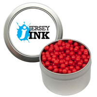 Silver Candy Window Tin with Colored Candy