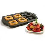 NONSTICK SQUARE DONUT PAN, 6 CUP