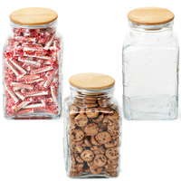 Office Reception Glass Jar Wood Lid with Salt Water Taffy