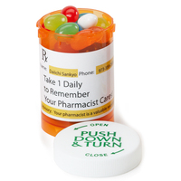 Small Amber Pill Bottle with SMALL MINTS