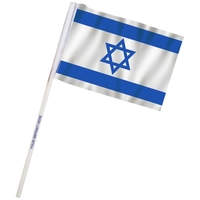 "4"" x 6"" Israel Imprinted Staff Polyester Stick Flags"