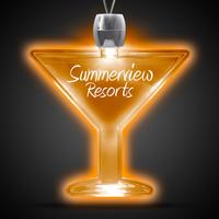 Martini Glass Amber Light-Up LED Acrylic Pendant Necklace