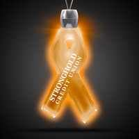 "Ribbon Pendant w/ Amber LED Lights on 24"" Necklace"
