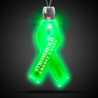 "Ribbon Pendant w/ Green LED Lights on 24"" Necklace"