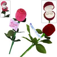 Cubic Zirconia Earrings with Long Stem Rose
