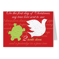 2 Turtle Doves Holiday Greeting Card with Turtle Dove