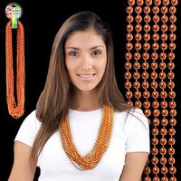 Orange Metallic Beaded Mardi Gras Beads Necklace