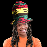 Rasta Novelty Costume Top Hat with Dreads