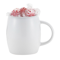 14 oz White Ceramic Rotunda Mug w/C-handle & starlight mints
