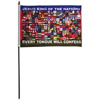 "Nations 12"" x 18"" Stick Flag"
