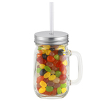 20 oz Glass Vintage Jackie Mason Jar w/straw & Jelly Beans