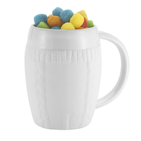 16 oz Ceramic faux Sweater Mug w/Smiley Sour Poppers