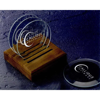 Beveled Coasters with Caddy - 5 Piece Set