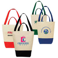 Two Tone Dual Handle Canvas Shopping Tote