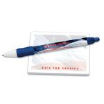 "4"" x 3"" 50 sheet stock design notepad + pen"