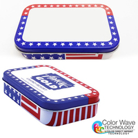 Patriotic Stars Stripes Pill Storage Tin Box -Empty