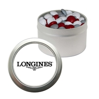 Silver Candy Window Tin with Corporate Color Chocolate