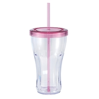 22 oz. Single wall plastic Soda Fountain tumble w/straw