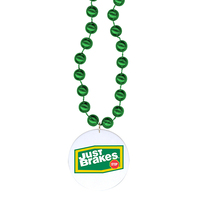 "Round Mardi Gras Beads with 1.5"" Round Screenprinted Disk"