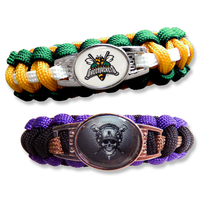Paracord Bracelet With Oval Alloy Plate And Epoxy Domed Logo