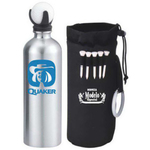 Sports water bottle with golf ball & 5 golf tees in a pouch