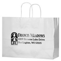 White Gloss Paper Shopper Bags - Foil Stamp