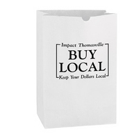 White Kraft Paper SOS Grocery Bag - 1/6 bbl. - Flexo Ink