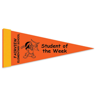 "4"" x 10"" Colored Felt Pennant with 1"" Screened Strip"