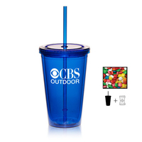 Plastic Tumbler Cup Drinkware w/ Chicle Chewing Gum - 16 oz.