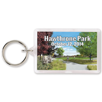 "1 3/8"" x 2 1/8"" Rectangle Acrylic Key Ring"