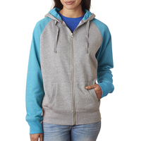 Ladies' Glitter French Terry Contrast Full-Zip Hooded Fleece
