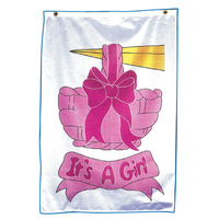 Screen printed It's a Girl stock design flag