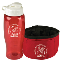 The Thirsty Dog Sports Bottle and Folding Dog Bowl