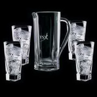 Chesswood Pitcher and 4 Hiball Glasses