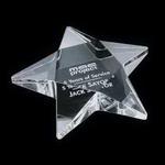 "Pentagon Star Paperweight - Optical 4"""