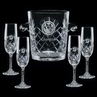 Cavanaugh Wine Cooler and 4 Flutes Glasses