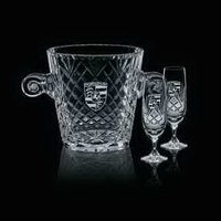 Medallion Wine Cooler and 2 Flutes Glasses