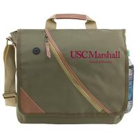 Leatherette Accent Messenger Bag